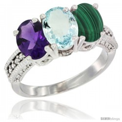 14K White Gold Natural Amethyst, Aquamarine & Malachite Ring 3-Stone 7x5 mm Oval Diamond Accent