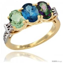 10K Yellow Gold Natural Green Amethyst, London Blue Topaz & Mystic Topaz Ring 3-Stone Oval 7x5 mm Diamond Accent