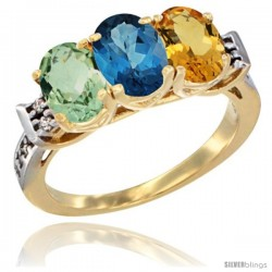 10K Yellow Gold Natural Green Amethyst, London Blue Topaz & Citrine Ring 3-Stone Oval 7x5 mm Diamond Accent