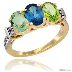 10K Yellow Gold Natural Green Amethyst, London Blue Topaz & Peridot Ring 3-Stone Oval 7x5 mm Diamond Accent