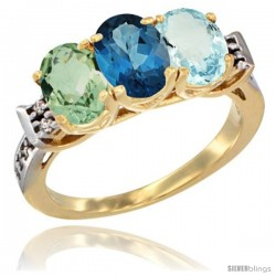 10K Yellow Gold Natural Green Amethyst, London Blue Topaz & Aquamarine Ring 3-Stone Oval 7x5 mm Diamond Accent