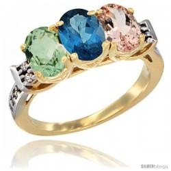 10K Yellow Gold Natural Green Amethyst, London Blue Topaz & Morganite Ring 3-Stone Oval 7x5 mm Diamond Accent