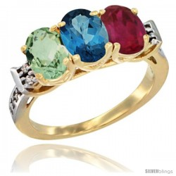 10K Yellow Gold Natural Green Amethyst, London Blue Topaz & Ruby Ring 3-Stone Oval 7x5 mm Diamond Accent