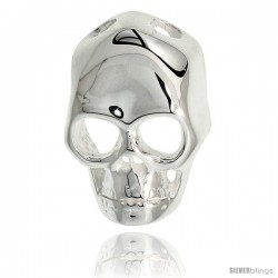 Sterling Silver Hollow Skull Pendant 13/16 in. (21 mm) tall