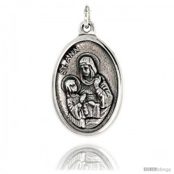 "Sterling Silver St. Ann Medal Pendant 15/16"" X 5/8"" (24 m X 16 mm)."