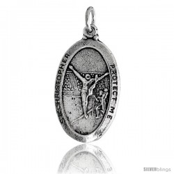 "Sterling Silver St. Christopher Oval-shaped Gymnastics Medal Pendant, 7/8"" (23 mm) tall"