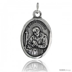 "Sterling Silver St. Alphonsus / Madonna & Child Oval-shaped Medal Pendant, 7/8"" (23 mm) tall"