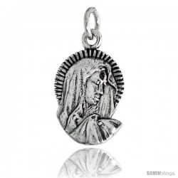 "Sterling Silver Blessed Virgin Mary Pendant, 3/4"" (19 mm) tall"