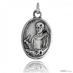 "Sterling Silver St. John Neumann (Bishop & Confessor) Oval-shaped Medal Pendant, 7/8"" (23 mm) tall"