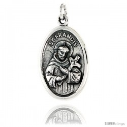 "Sterling Silver St. Francis Medal Pendant 15/16"" X 5/8"" (24 mm X 16 mm)."