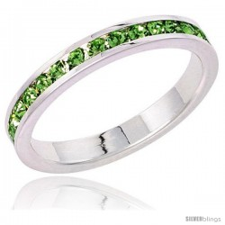 "Sterling Silver Eternity Band, w/ August Birthstone, Peridot Crystals, 1/8"" (3 mm) wide"