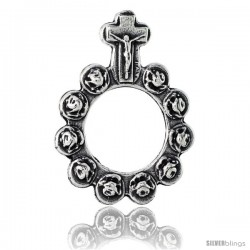 """Sterling Silver Single Decade / One Mystery Ring Rosary, 1 7/16"""" (37 mm) tall"""
