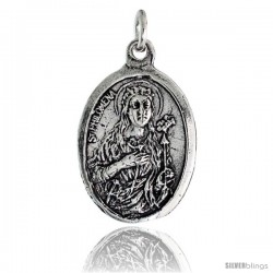 "Sterling Silver St. Philomena The Virgin Martyr Oval-shaped Medal Pendant, 7/8"" (23 mm) tall"