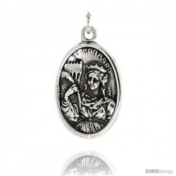 "Sterling Silver St. Barbara Medal Pendant 15/16"" X 5/8"" (24 mm X 16 mm)."