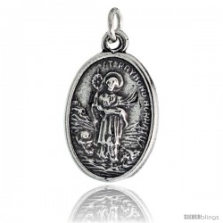 "Sterling Silver St. Raymond Nonnatus The Confessor Oval-shaped Medal Pendant, 7/8"" (23 mm) tall"