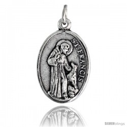 "Sterling Silver St. Francis of Assisi / St. Anthony The Apostle Oval-shaped Medal Pendant, 7/8"" (23 mm) tall"