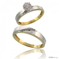 10k Yellow Gold Diamond Engagement Rings 2-Piece Set for Men and Women 0.10 cttw Brilliant Cut, 3.5mm & 4.5 -Style 10y015em