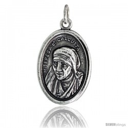 "Sterling Silver Mother Teresa of Calcutta Oval-shaped Medal Pendant, 7/8"" (23 mm) tall"