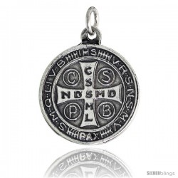 "Sterling Silver St. Benedict Round-shaped Medal Pendant, 7/8"" (23 mm) tall"