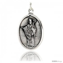 "Sterling Silver St. Richard Medal Pendant 15/16"" X 5/8"" (24 mm X 16 mm)."