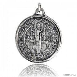"Sterling Silver St. Benedict Round-shaped Medal Pendant, 1 1/4"" (32 mm) tall"