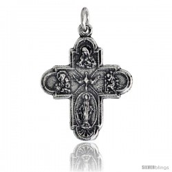 "Sterling Silver Holy Cross (Virgin Mary, Sacred Heart of Jesus, Infant Jesus of Prague, Holy Spirit) Pendant, 7/8"" (23 mm) tall"