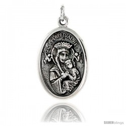 "Sterling Silver Our Lady of Perpetual Help Medal Pendant 15/16"" X 5/8"" (24 mm X 16 mm)."