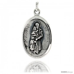 "Sterling Silver St. Vincent De Paul Medal Pendant 15/16"" X 5/8"" (24 mm X 16 mm)."