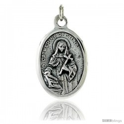 "Sterling Silver St. Catherine of Siena Medal Pendant 15/16"" X 5/8"" (24 mm X 16 mm)."