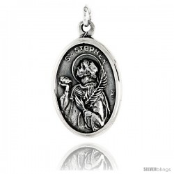 "Sterling Silver St. Stephen Medal Pendant 15/16"" X 5/8"" (24 mm X 16 mm)."