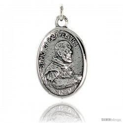 "Sterling Silver St. Pio of Pietrelcina Medal Pendant 15/16"" X 5/8"" (24 mm X 16 mm)."