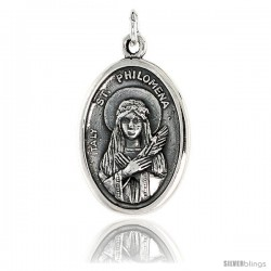 "Sterling Silver St. Philomena Medal Pendant 15/16"" X 5/8"" (24 mm X 16 mm)."