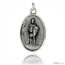 "Sterling Silver St. El Rian Medal Pendant 15/16"" X 5/8"" (24 mm X 16 mm)."