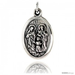 "Sterling Silver Holy Family Medal Pendant 15/16"" X 5/8"" (24 mm X 16 mm)."