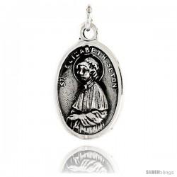 "Sterling Silver St. Elizabeth Seton Medal Pendant 15/16"" X 5/8"" (24 mm X 16 mm)."