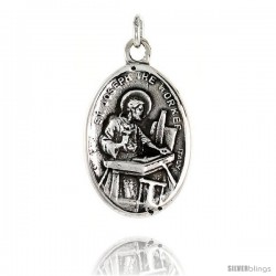 "Sterling Silver St. Joseph the Worker Medal Pendant 15/16"" X 5/8"" (24 mm X 16 mm)."