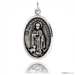 "Sterling Silver St. Martin de Porres Medal Pendant 15/16"" X 5/8"" (24 mm X 16 mm)."