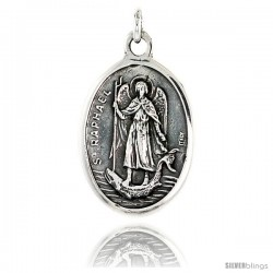 "Sterling Silver St. Raphael Medal Pendant 15/16"" X 5/8"" (24 mm X 16 mm)."