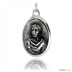 "Sterling Silver St. Genesius Medal Pendant 15/16"" X 5/8"" (24 mm X 16 mm)."