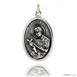 "Sterling Silver St. Gerard Medal Pendant 15/16"" X 5/8"" (24 mm X 16 mm)."