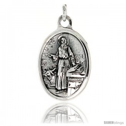 "Sterling Silver St. Luke Medal Pendant 15/16"" X 5/8"" (24 mm X 16 mm)."