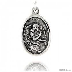 "Sterling Silver St. Gabriel Archangel Medal Pendant 15/16"" X 5/8"" (24 mm X 16 mm)."