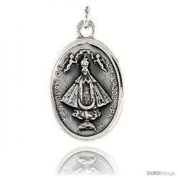 "Sterling Silver San Juan De Los Lagos Medal Pendant 15/16"" X 5/8"" (24 mm X 16 mm)."