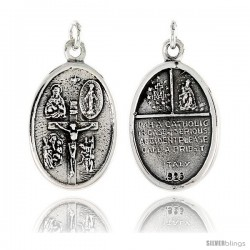 "Sterling Silver Crucifixion of Jesus Medal Pendant 15/16"" X 5/8"" (24 mm X 16 mm)."