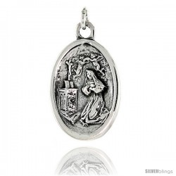 """Sterling Silver Mary Magdalene Medal Pendant 15/16"""" X 5/8"""" (24 mm X 16 mm)."""