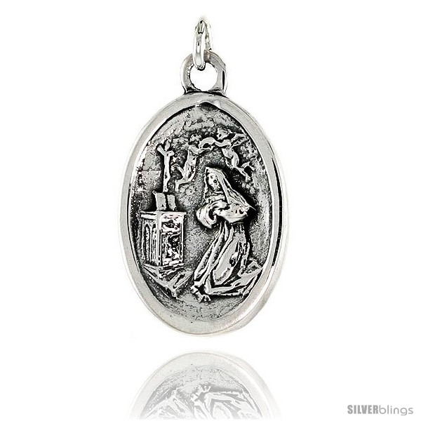 Sterling silver mary magdalene medal pendant 1516 x 58 24 mm x undefined mozeypictures Choice Image