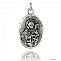 "Sterling Silver St. Clare Medal Pendant 15/16"" X 5/8"" (24 mm X 16 mm)."