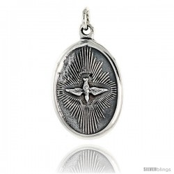 "Sterling Silver Holy Spirit Medal Pendant 15/16"" X 5/8"" (24 mm X 16 mm)."