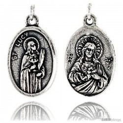 "Sterling Silver St. Lucy and Sacred Heart Medal Pendant 15/16"" X 5/8"" (24 mm X 16 mm)."