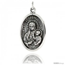 "Sterling Silver Our Lady of Czestochowa Medal Pendant 15/16"" X 5/8"" (24 mm X 16 mm)."